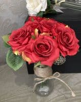 Artificial faux silk medium Roses - 7 individual stems - Red